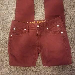 Rock revival maroon Liz Skinny jeans